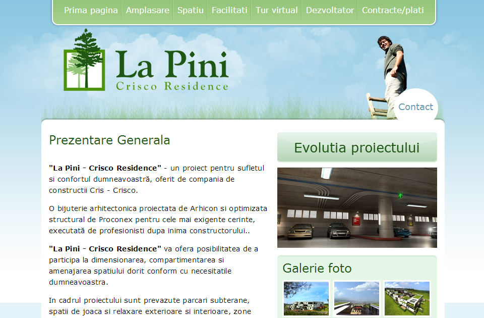 La Pini website design homepage